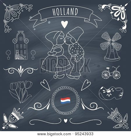 Collection Of Dutch Ornaments On Blackboard