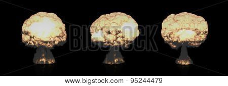 Different Mushroom Clouds Of Nuclear Explosion