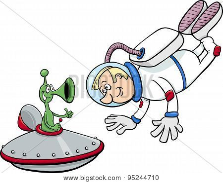 Spaceman With Alien Cartoon