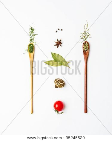 Food And Spices Herb For Cooking Background.
