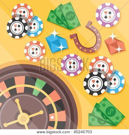 Casino roulette, gambling flat illustration concepts set