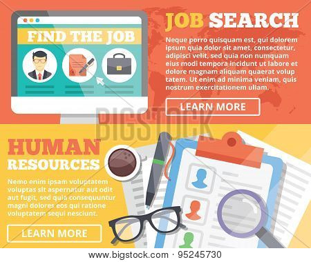 Job search and human resources flat illustration concepts set