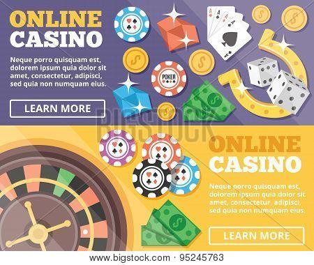 Online casino flat illustration concepts set