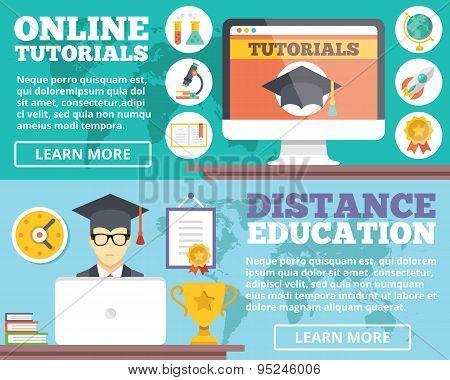 Online tutorials, distance education flat illustration concepts set
