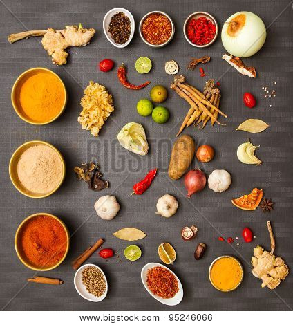 Mix spices on black background.
