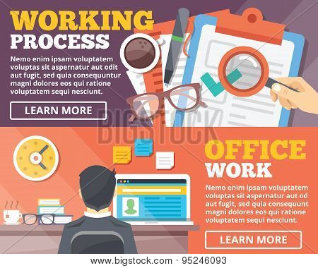 Working process, office work flat illustration concepts set