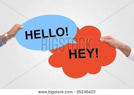 Two Hello Hey! Speech Bubbles meeting