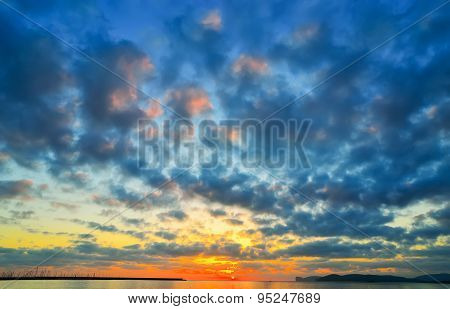 Colorful Sky Over Alghero Harbor At Sunset,