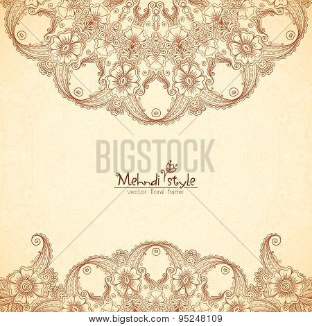 Vintage background in Indian henna tattoo style
