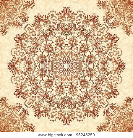 Indian mehndi henna tattoo style mandala seamless pattern