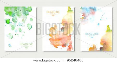 Set of cards with watercolor splashes. Abstract aquarelle backgrounds