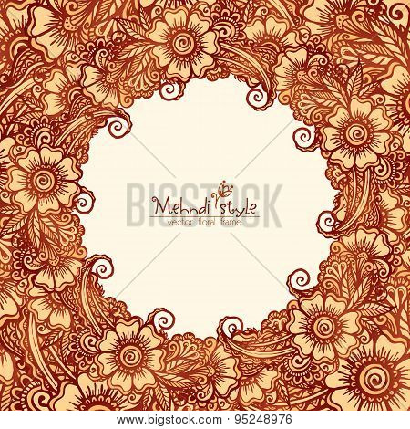 Decorative round frame in Indian mehndi style
