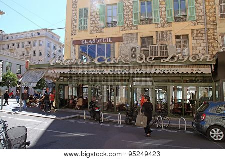 Outdoor French Cafe On The Main City Street Jean Medsen Avenue In Nice,france.