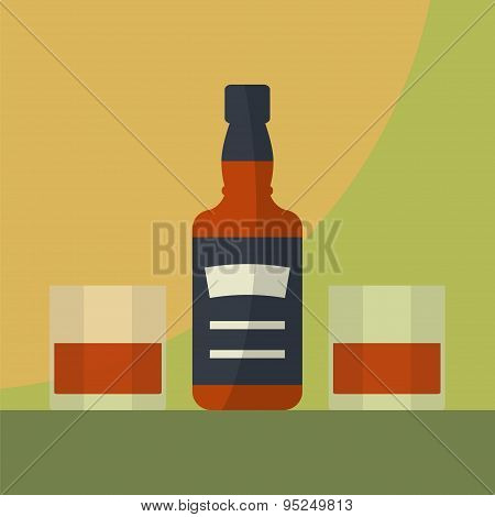 Whiskey Bottle With Two Glasses Filled.