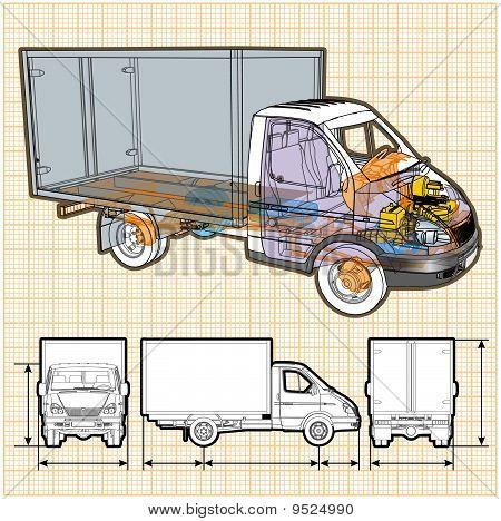 Vector truck infographics cutaway