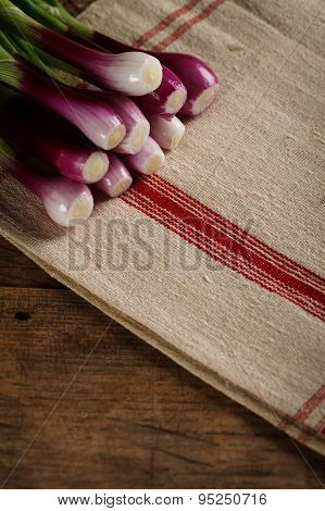 Green Spring Onions On Tablecloth