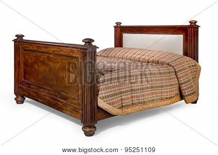 Mahogany Antique Bed With Isolated With Clip Path