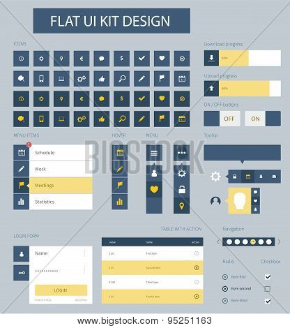 Flat Ui Kit Design Elements For Website Template