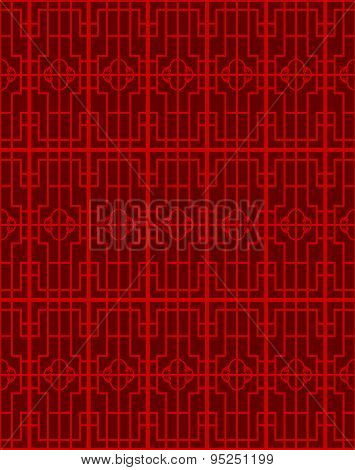 Seamless vintage Chinese window tracery square geometry pattern background.