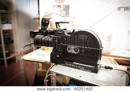 Rome, Italy - April 22Nd 2015. Professional Vintage Arriflex 16 Mm Camera