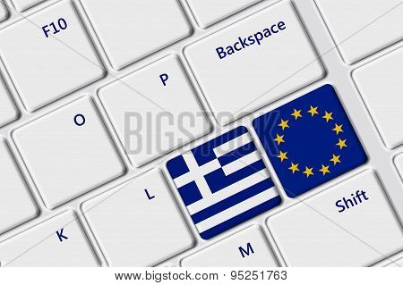 Computer Keyboard With Greek Flag And European Unoon Flag Buttons