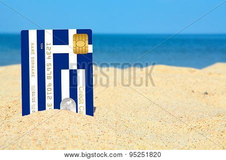 Greek Credit Card On The Beach