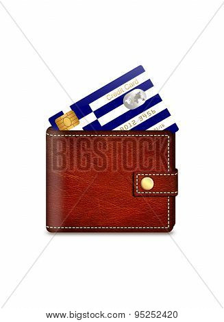 Greek Credit Card In Wallet Over White Background