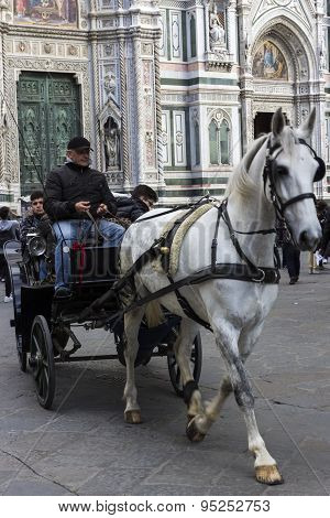 Horse Drawn Carriage In Florence In Italy