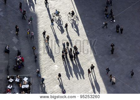 People On Piazza Dei Duomo In Florence In Italy
