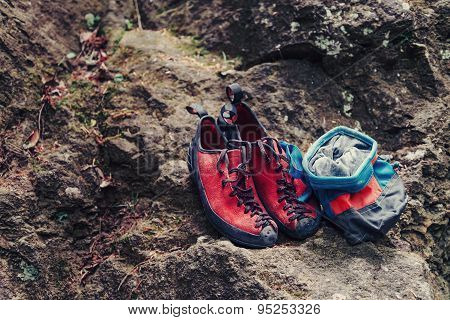 Climbing Shoes And Sack