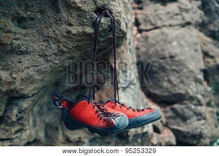 Climbing Shoes On Rock
