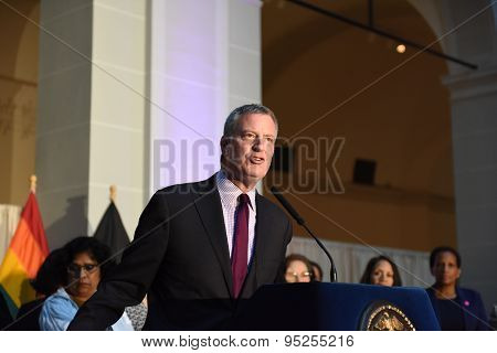 Mayor de Blasio on the podium at Pride Reception