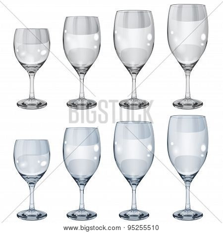 Set Of Empty Opaque Glass Goblets For Wine