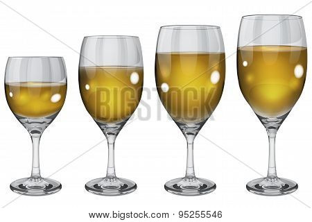 Set Of Opaque Glass Goblets With White Wine