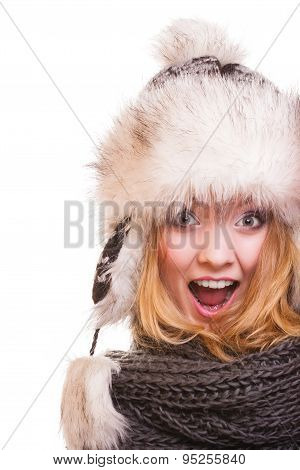 Winter Fashion Girl In Fur Hat Doing Fun Isolated