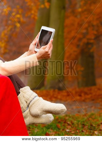 Woman In Autumn Park Using Tablet