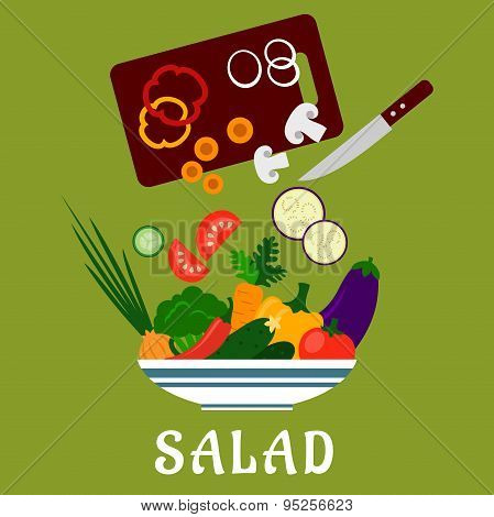 Salad with vegetables and chopping board
