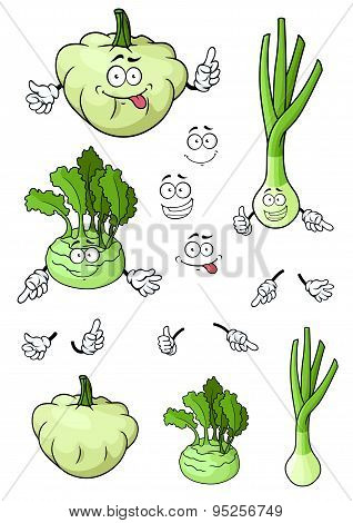 Cartoon onion, squash, kohlrabi vegetables