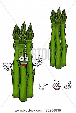 Green asparagus vegetable cartoon character