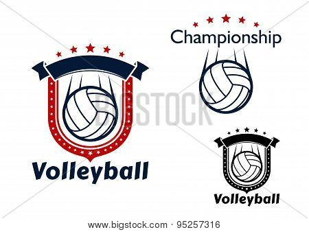 Volleyball game emblems with flying balls