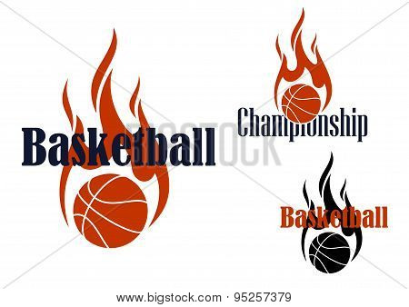 Basketball game symbols with flaming balls