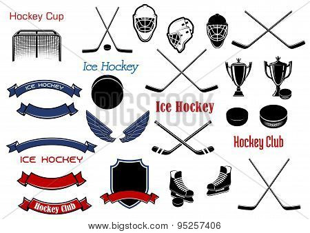 Ice hockey and heraldic symbols or items