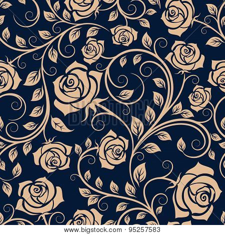 Twisted blooming roses seamless pattern