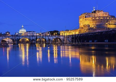 View On St. Peter's Basilica And Castel Sant'angelo In Rome