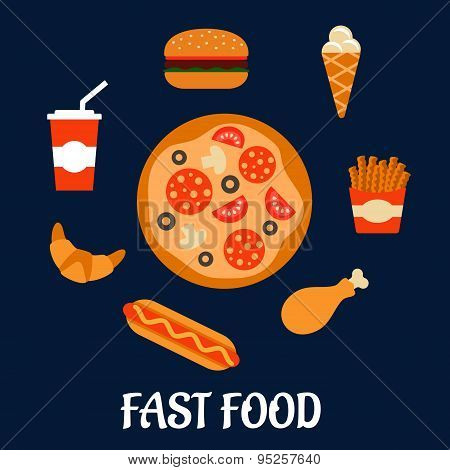 Fast food icons in flat style