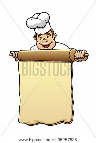 Baker with rolling pin and dough