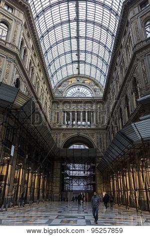 Interior Of Galleria Umberto I In Naples, Italy