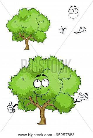 Cartoon green tree character with thumb up