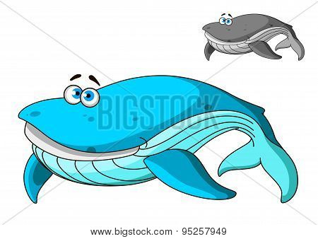 Large cartoon blue whale character