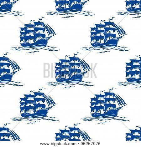 Seamless pattern of a sailing ships